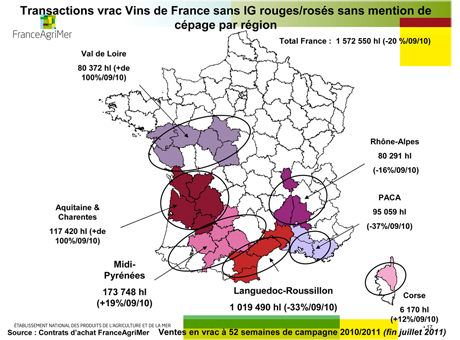 Vins de France rouges/rosés sans mention de cépage par région